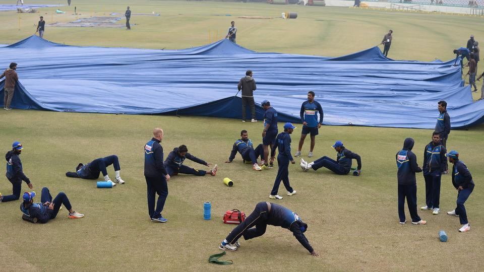 Sri Lanka trained intensely but there is the threat of rain looming over the Mohali ODI with rain expected.  (AFP)