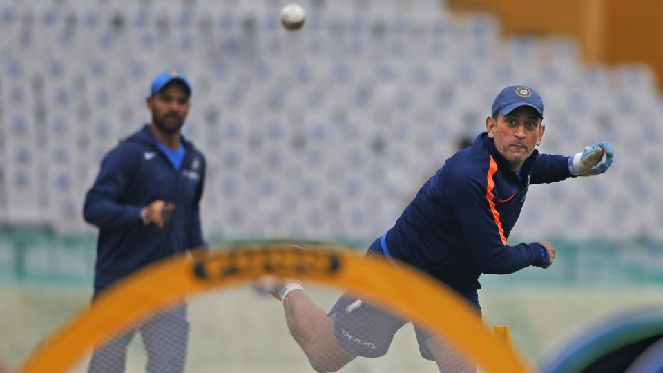 Indian cricket team's MS Dhoni during fielding drills at the PCA Stadium in Mohali on Tuesday, on the eve of the second ODI against Sri Lanka cricket team.  (AP)