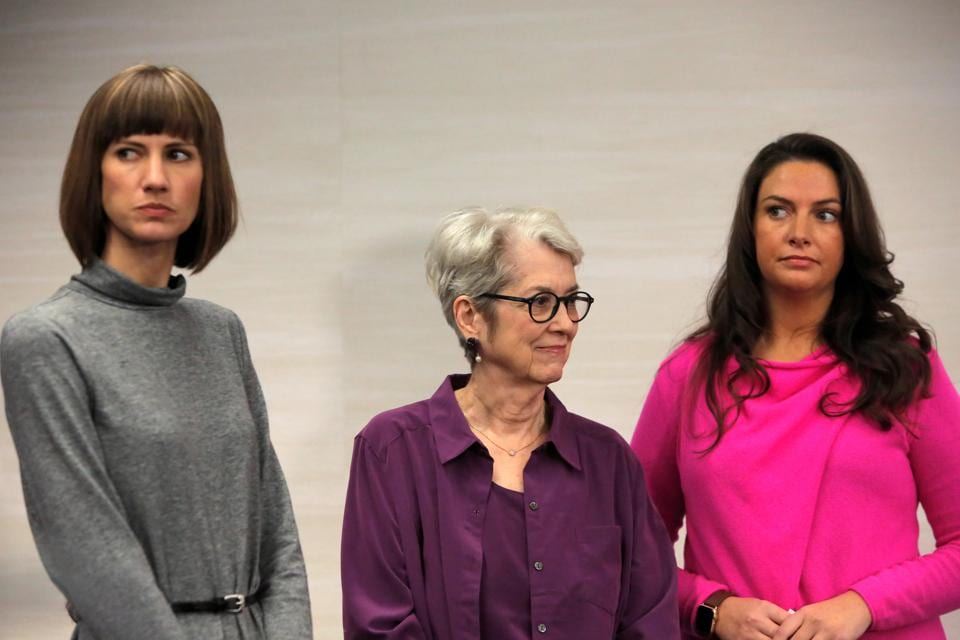 (Left to right) Rachel Crooks, Jessica Leeds and Samantha Holvey at a press conference in Manhattan, New York on December 11, 2017.