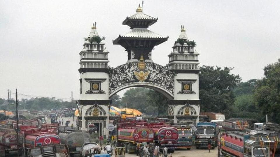 The gate that marks the Nepalese border with India, in Birgunj, Nepal.