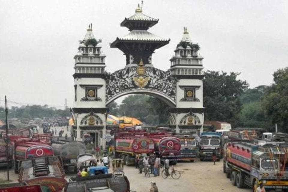 Gate that marks the Nepalese border with India, in Birgunj, Nepal.