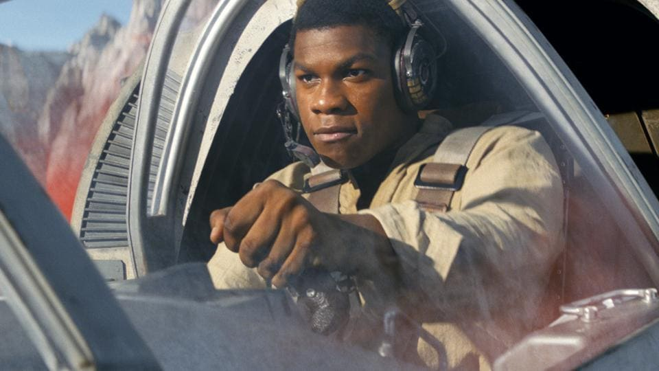 This image released by Lucasfilm shows John Boyega as Finn in a scene from, Star Wars: The Last Jedi.