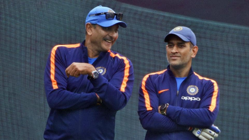 India cricket team head coach Ravi Shastri and MS Dhoni during the practice session in Mohali. (AP)