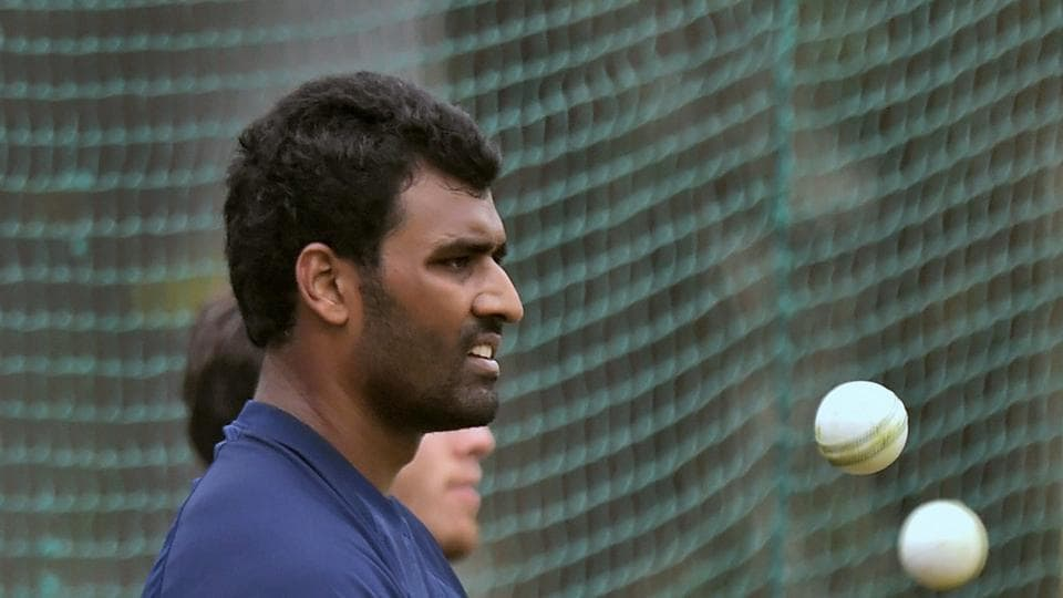 Thisara Perera and the Sri Lankan team practised hard on the eve of the second ODI in Mohali against India. (PTI)