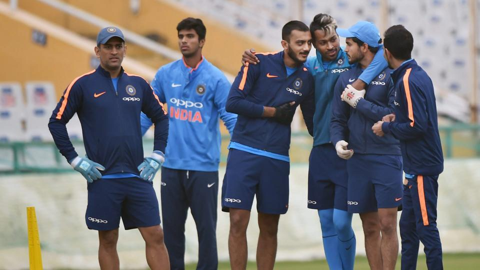 Indian cricket team's MS Dhoni, Hardik Pandya, Axar Patel, Manish Pandey and Yuzvendra Chahal during fielding drill on the eve of the second ODI against Sri Lanka cricket team in Mohali on Tuesday.  (PTI)