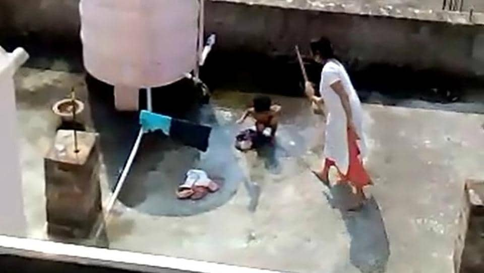 In the video, the woman Pranati Roul (38) is seen beating the bare-bodied girl with hand and then with the rear of a broomstick as the child is washing clothes near a water tank in CDA Sector-11 area. The video appears to be have been shot by a neighbour.