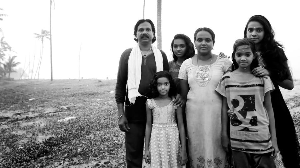 "Rekha and Karthikeyan met while she was doing a Hindi course and fell in love. ""Following protests from both families, we were forced to flee and start life afresh,"" she says. Now, the couple goes 20-30 nautical miles into the sea in search of fish, without a compass, GPS device, life jackets or any modern navigation equipment. (Vivek R Nair / HT Photo)"