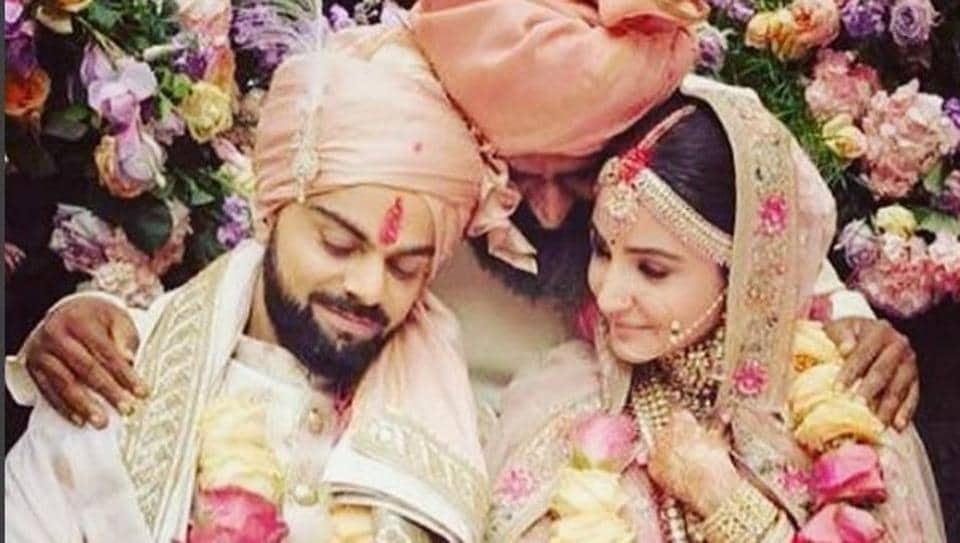 Anushka Sharma and Virat Kohli at their wedding.