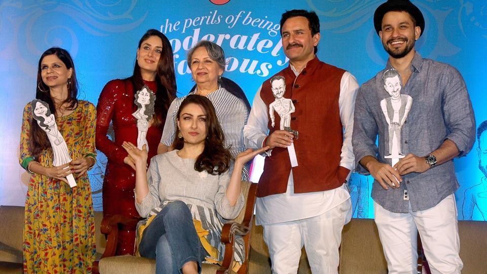 Sharmila Tagore, Kareena Kapoor Khan, Saif Ali Khan, Saba Ali Khan, Kunal Kemmu with author Soha Ali Khan during her book launch, The Perils of Being Moderately Famous, on Tuesday.