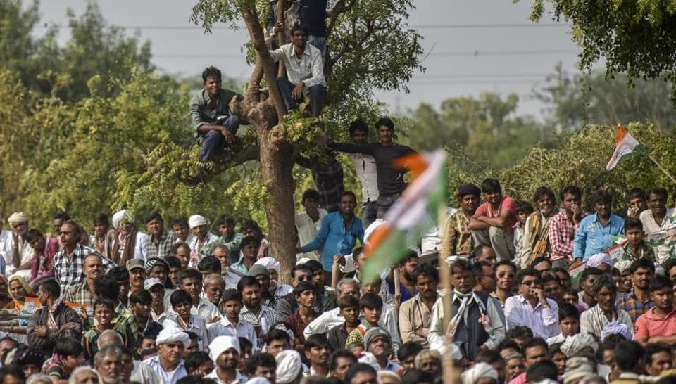 Crowds at a Congress rally in Gujarat's Patan last week.