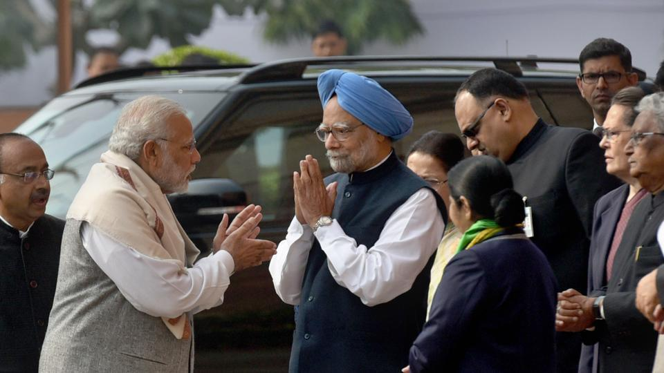 Prime Minister Narendra Modi, former PMManmohan Singh and Congress president Sonia Gandhi at Parliament House in New Delhi on Wednesday.