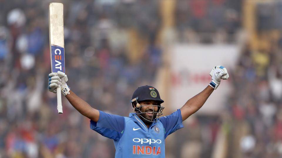Rohit Sharma blasted 11 sixes and four fours as he moved from 100 to 200 in just 36 balls. (AP)