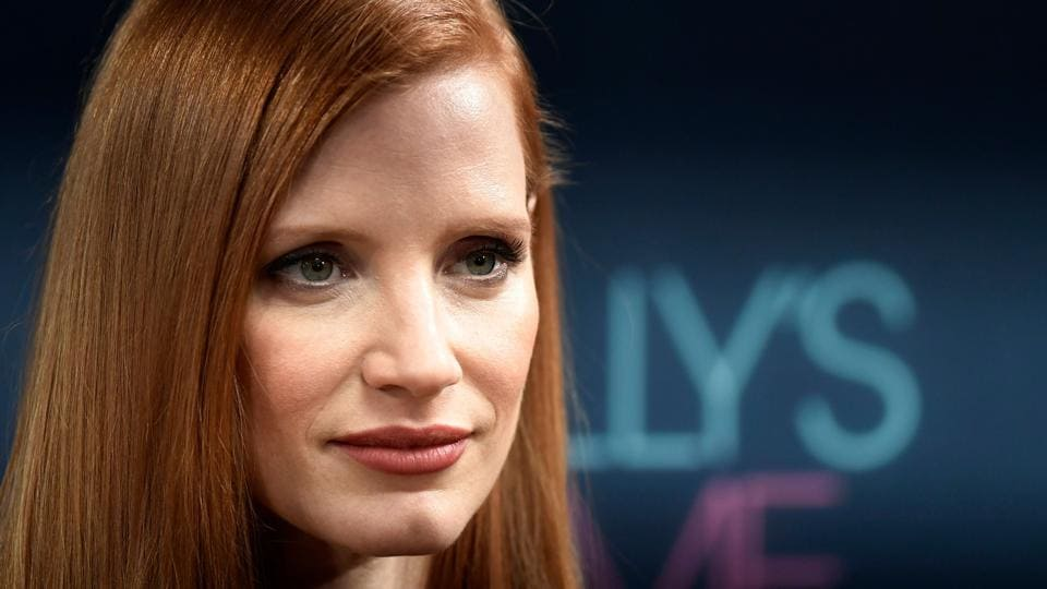 Jessica Chastain poses during a photo call to promote her film Molly's Game in Madrid on December 4, 2017.