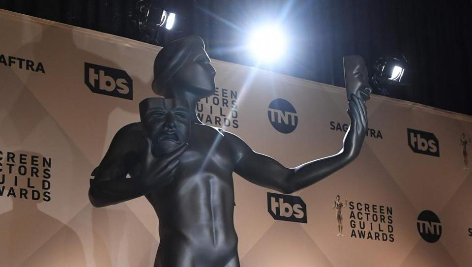 The Screen Actors Guild SAG Awards statueis viewed before the announcement of the nominations at the Pacific Design Center in West Hollywood, California on December 13, 2017.