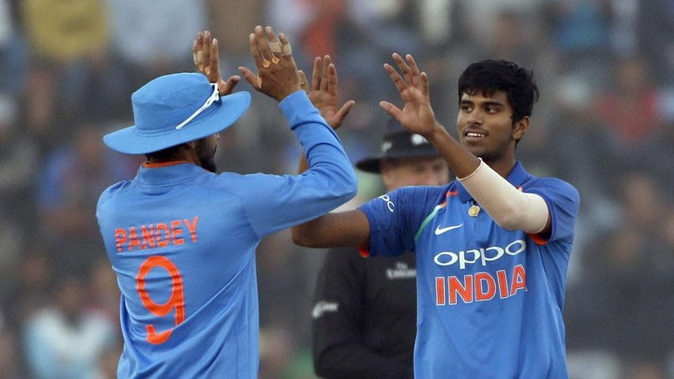 Washington Sundar picked up the wicket of Lahiru Thirimanne on debut.  (AP)