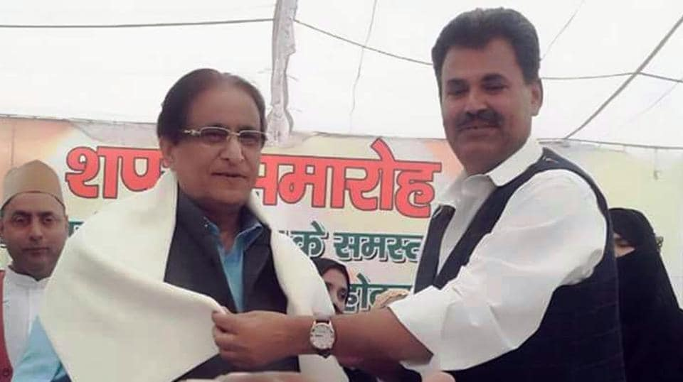 Azam Khan at an event organised by SP local unit.
