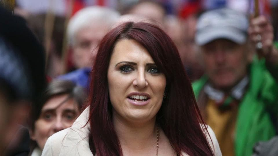 Jayda Fransen, deputy leader of the fringe anti-immigrant Britain First group, appeared at a court in Belfast to face charges of using threatening, abusive or insulting words in a speech at a rally in the city in August.