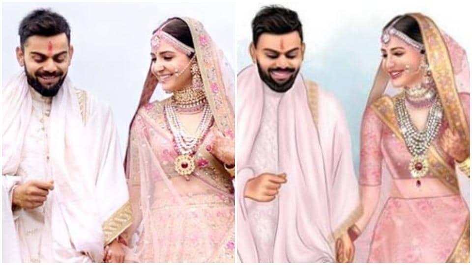 Actor Anushka Sharma picked a breathtaking Sabyasachi lehenga for her destination wedding with cricketer Virat Kohli in Florence on Monday.