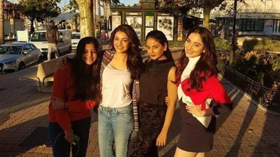 (From left) Manjima Mohan, Kajal Aggarwal, Parul Yadav and Tamannaah Bhatia during their France schedule.