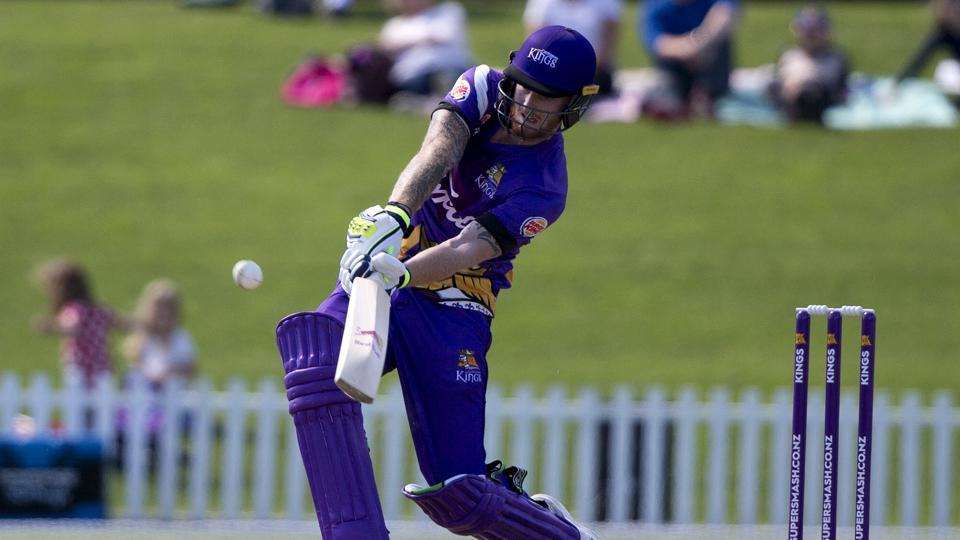 Ben Stokes plays a shot during his innings of 93 runs in his match for the Canterbury Kings against the Otago Volts in a Twenty20 match at Christchurch, New Zealand on December 14.