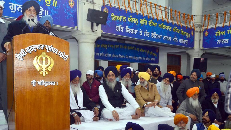 Parkash Singh Badal addressing the party gathering during the 97th foundation day of Shiromani Akali Dal (SAD) at Manji Sahib Diwan Hall in the Golden Temple complex in Amritsar on Thursday.