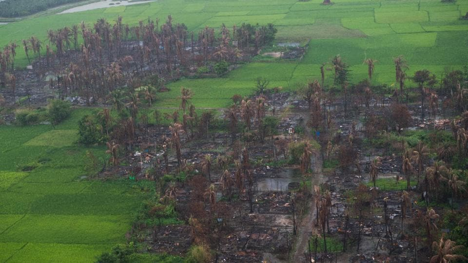 An aerial view of burnt villages near Maungdaw in Myanmar's northern Rakhine state.