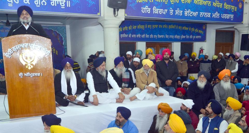 Sukhbir Singh Badal addressing the party gathering during the 97th foundation day of Shiromani Akali Dal (SAD) at Manji Sahib Diwan Hall in the Golden Temple complex in Amritsar on Thursday.