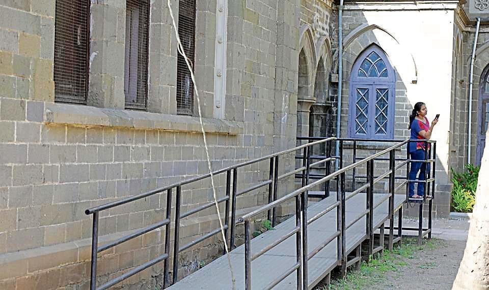 A ramp in Fergusson College allows students on wheelchairs to access the building. However, once inside, there are no lifts for the students to get any further.