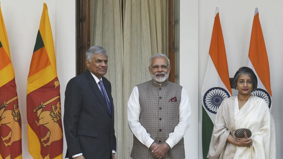 Prime Minister Narendra Modi with Sri Lnakan Prime Minister Ranil Wickremesinghe  (left) and his wife Maithree Wickremesinghe, Hyderabad House, New Delhi, India, November 23, 2017 (Representative Photo)