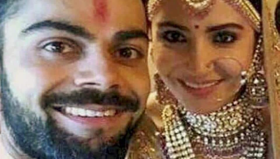Indian cricket captain Virat Kohli takes a selfie with Anushka Sharma on wedding day in Milan, Italy on Monday.