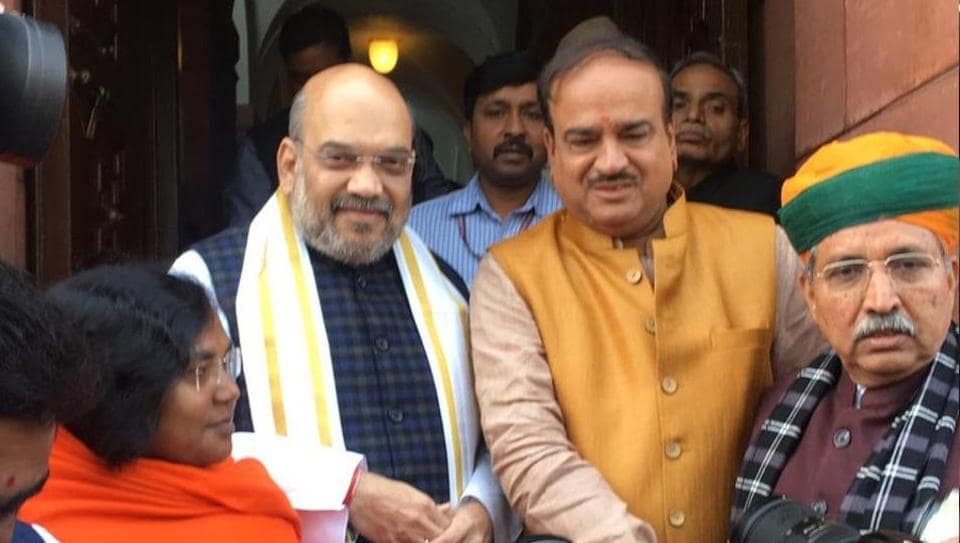 BJP president Amit Shah outside Parliament, where he made his debut in the Rajya Sabha on Friday. (ANI Twitter)