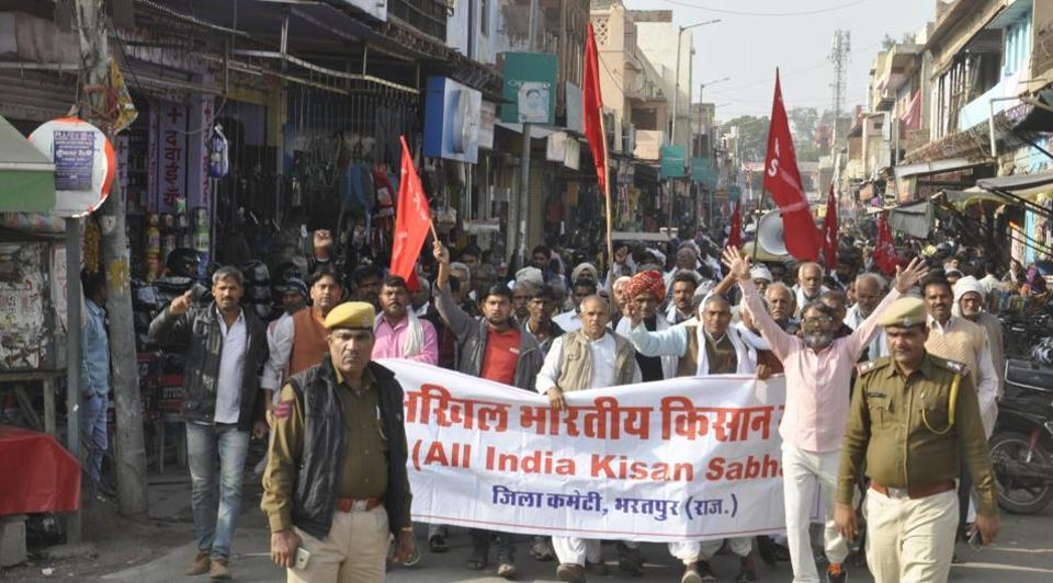 Farmers at a rally in Bharatpur on Friday.