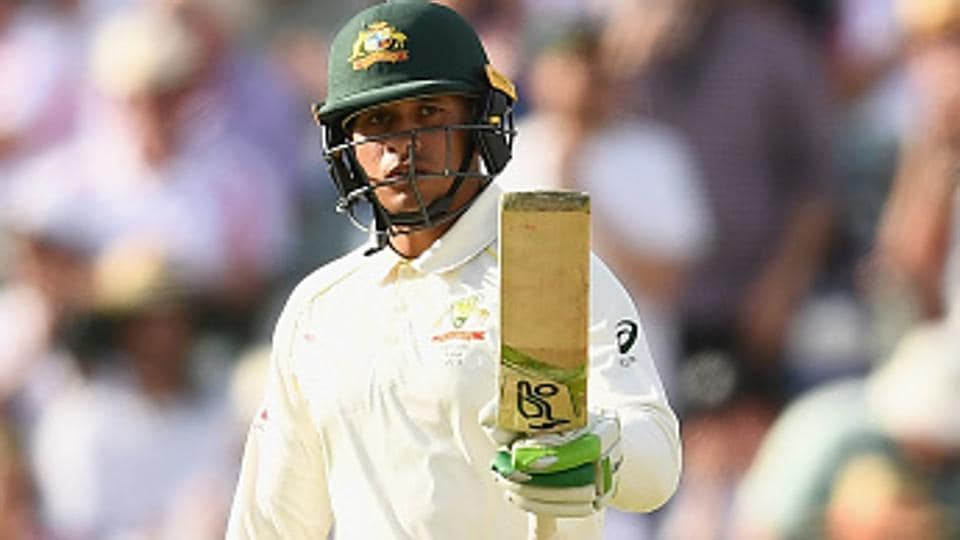 Usman Khawaja celebrates after scoring his fifty for Australia against England in the third Ashes 2017-18 Test match in Perth.