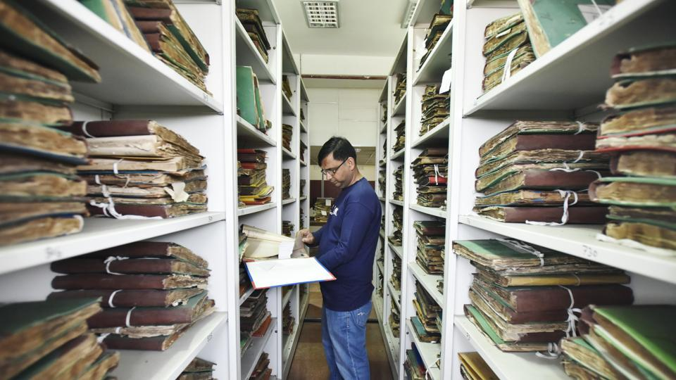 The reams of archival documents shown here are stored in four specially constructed floors of the Delhi Archives building in Qutub Institutional Area. Established in 1972, the archives are a repository of non-current records of the Delhi government under the department of art and culture. It is responsible for their preservation and making them available for research and reference. (Ravi Choudhary / HT Photo)