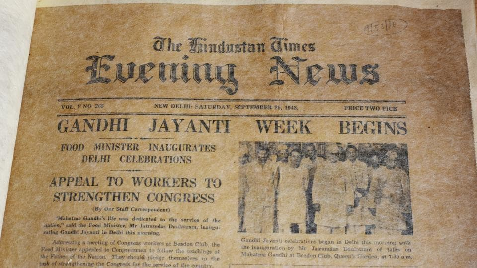 A collection of old newspapers at the archives includes a copy of The Hindustan Times Evening News, published September 25, 1948. The digitisation project is billed as the largest in Asia. In its first phase, four crore records are expected to be uploaded on the website of the Delhi archives over a span of 30 months at a cost of Rs 25.4 crore. (Vipin Kumar / HT Photo)