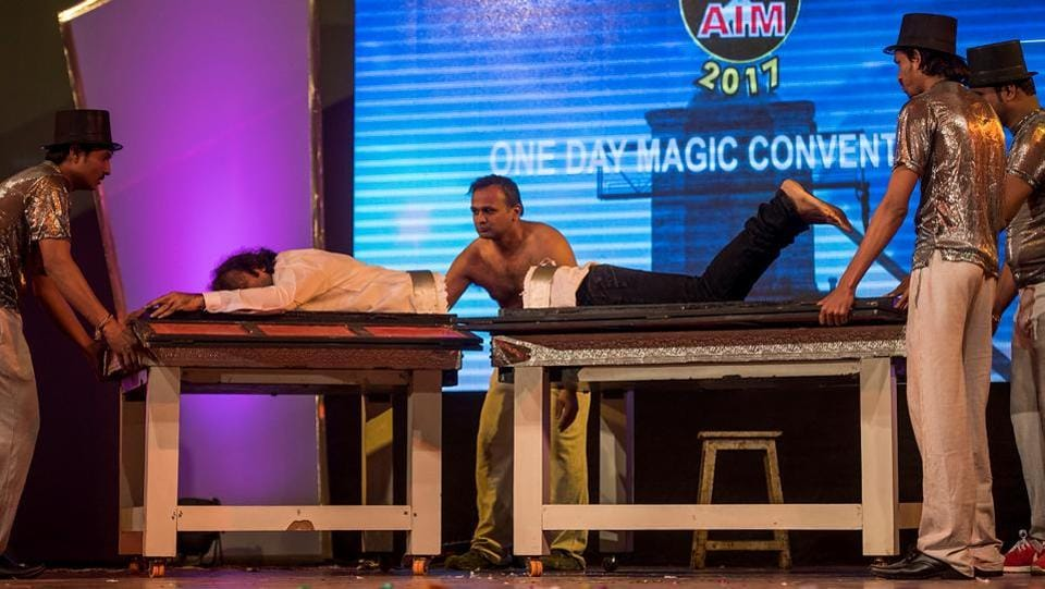 A free medical check-up was held for magicians who attended the convention, which was organised by the Association of Illusionists and Magicians (AIM). (Pratik Chorge/HT PHOTO)