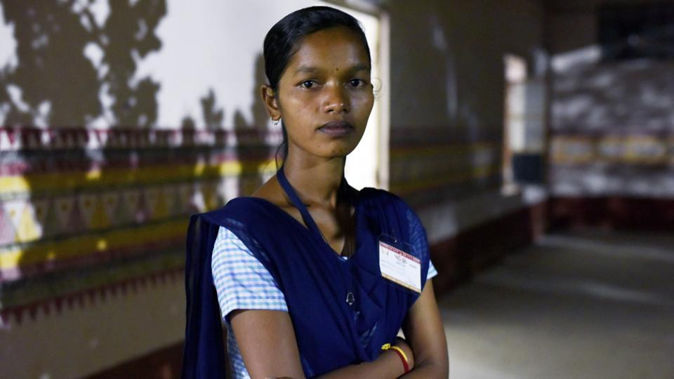 Purnima Haika, a student of science in Eklavya Model Residential School at Rayagada, was the topper among the 14 girls this year, scoring 77%. The story of these girls crossing a milestone has boosted confidence in education and is helping other girls dream big. (Vipin Kumar / HT Photo)
