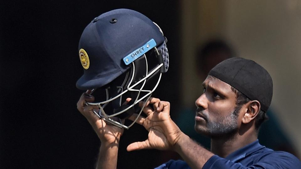 Sri Lanka cricket team's Angelo Mathews during practice session for the third and final ODI cricket match against Indian crikcet team in Vizag on Friday.
