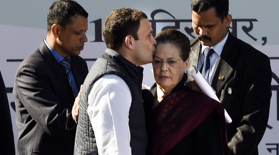 Congress president Rahul Gandhi with his mother and outgoing party chief Sonia Gandhi in New Delhi on Saturday.(Arvind Yadav/HT PHOTO)
