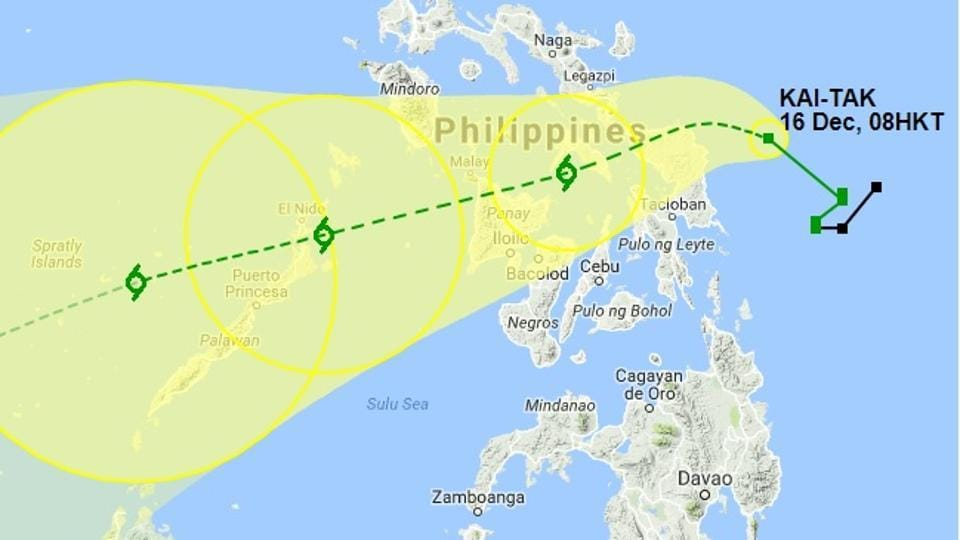 Kai-Tak, packing gusts of up to 100 kilometres an hour, was poised to smash into the north of the country's third-largest island Samar overnight Saturday before slicing across the central Philippines.