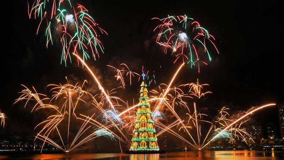 The 278 ft tall floating Christmas tree in Brazil has 3 million lights.