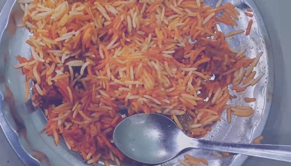 The biryani cooked with buffalo meat at  Pehlwan Biryani Wale.