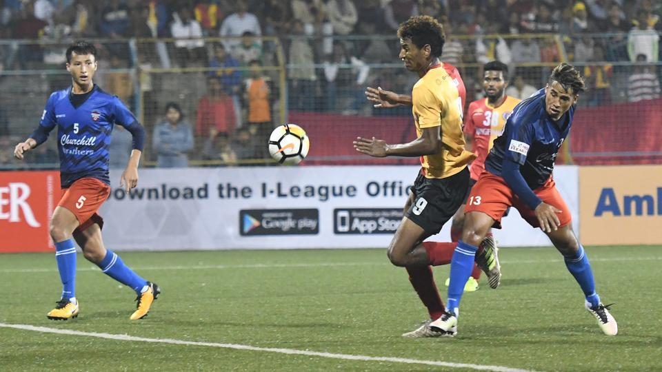 Willis Plaza  in action during East Bengal's I-League match against Churchill Brothers in Barasat on Saturday.