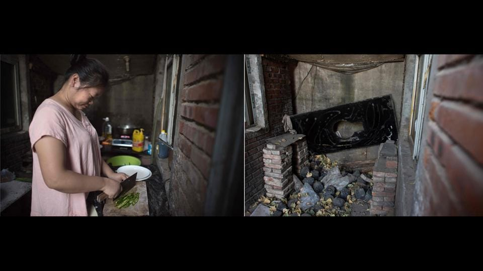 A woman cooking food in a communal kitchen in a village in Beijing (L) on September 07, 2017 is juxtaposed with a picture (R) taken on December 11, 2017 which shows the same area after the residents were evicted. A deadly fire on the capital's southern fringes last month prompted a fire safety blitz by authorities, forcing thousands of the migrant workers out of homes. (Nicolas Asfouri / AFP)