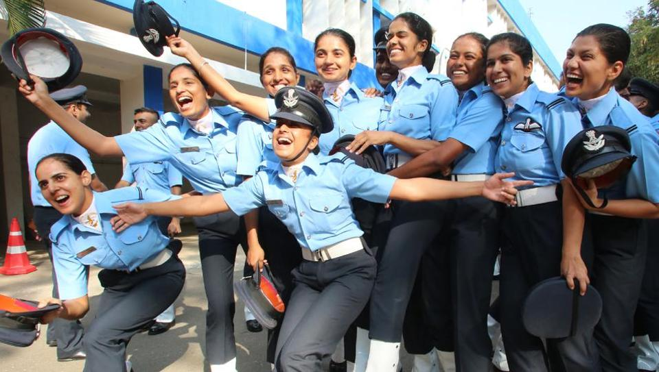 Women cadets celebrate at the combined graduation parade ceremony of the IAF Academy, Dundigal.