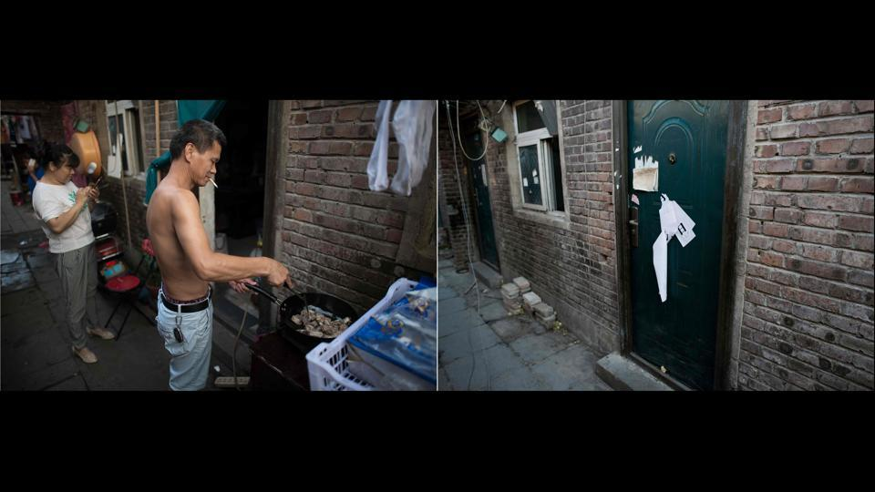 The narrow alleyways of the Beijing migrant neighborhood were once crammed with men cooking on outdoor stoves, women hanging clothes to dry and young children playing games. Now dead leaves litter the pavement as bitterly cold wind blows through empty lanes after a controversial city-wide eviction campaign. (Nicolas Asfouri / AFP)
