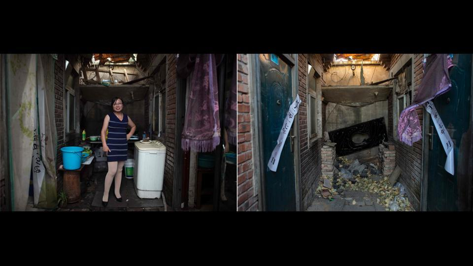 Zhang Zhanrong (C), in a shared kitchen as she cooks dinner for her family outside her room in Beijing is juxtaposed with a picture (R) taken on December 11, 2017 which shows the same area after the residents were evicted. The evictions have sparked criticism from China's intellectuals, students and journalists, who say that the government unfairly targeted the vulnerable underclass. (Nicolas Asfouri / AFP)