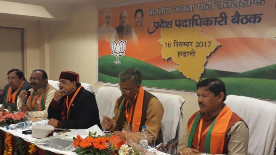 Chief minister TS Rawat at 'Purnkalik Vistarak' meeting in Haldwani on Saturday.