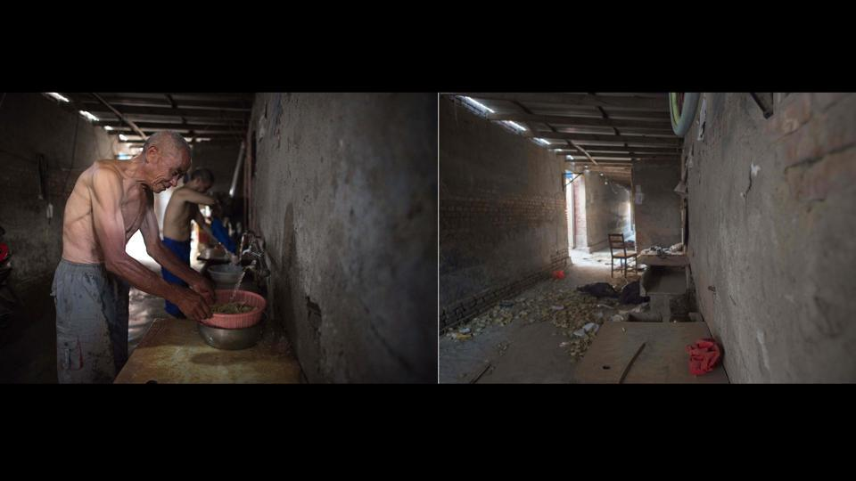 "This photo combo shows a picture (L) on August 17, 2017 of a man washing his dishes outside his room in Beijing, and one (R) taken on December 11, 2017 of the same area after now vacant. ""Originally it was just a fire, but they used the fire as an excuse to force people young and old onto the streets in the middle of the coldest days of winter,"" independent political commentator Zhang Lifan told Reuters. (Nicolas Asfouri / AFP)"