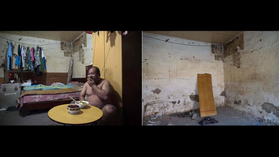 Liu Huiqing, who works for a moving company, seen talking on the phone inside his room eating dinner is juxtaposed with a picture (R) taken on December 11, 2017 showing the same room now. For owners, there is nothing left back in their hometowns, having spent all their savings to buy parts of apartment blocks where migrants rent rooms for a few hundred yuan each month. (Nicolas Asfouri / AFP)